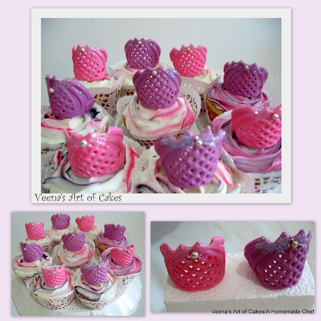 Cupcake toppers shaped like princess crowns.