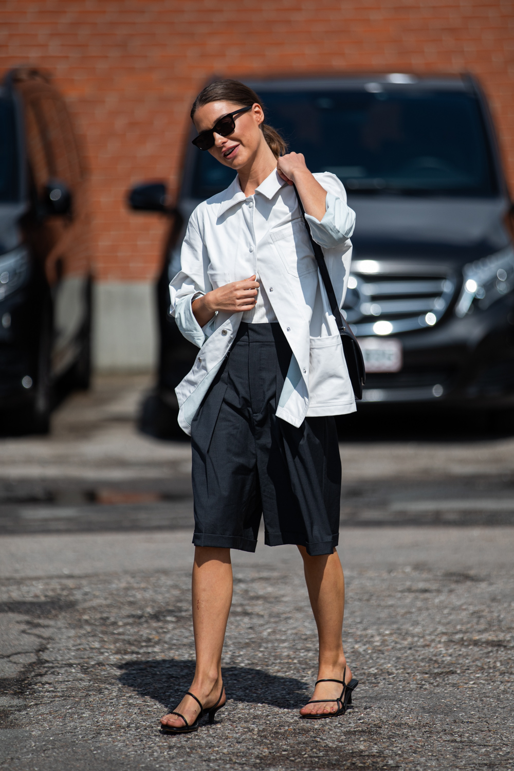 Two Elevated, Minimalist Looks to Recreate for Fall – Utility Jacket Oversized Long Shorts