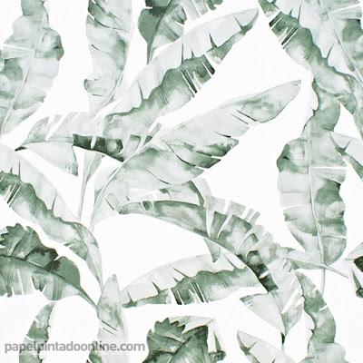 papel pintado naturaleza hojas tipo acuarela en verde 038
