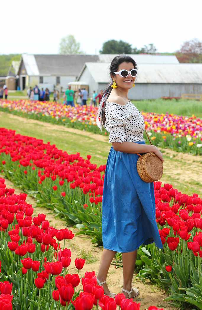 Who What Wear Birdcage Skirt Target, Target Evelyn Macrame Sandals, Holland Ridge Farms New Jersey, Tulip Festival New Jersey, Tulip Fields In New Jersey, Target Chambray Skirt, Woven Circle Straw Bag