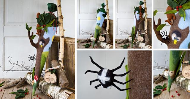 Schultüte gefilzt mit Eichhörnchen, Fliegenpilz, Uhu und Spinne.