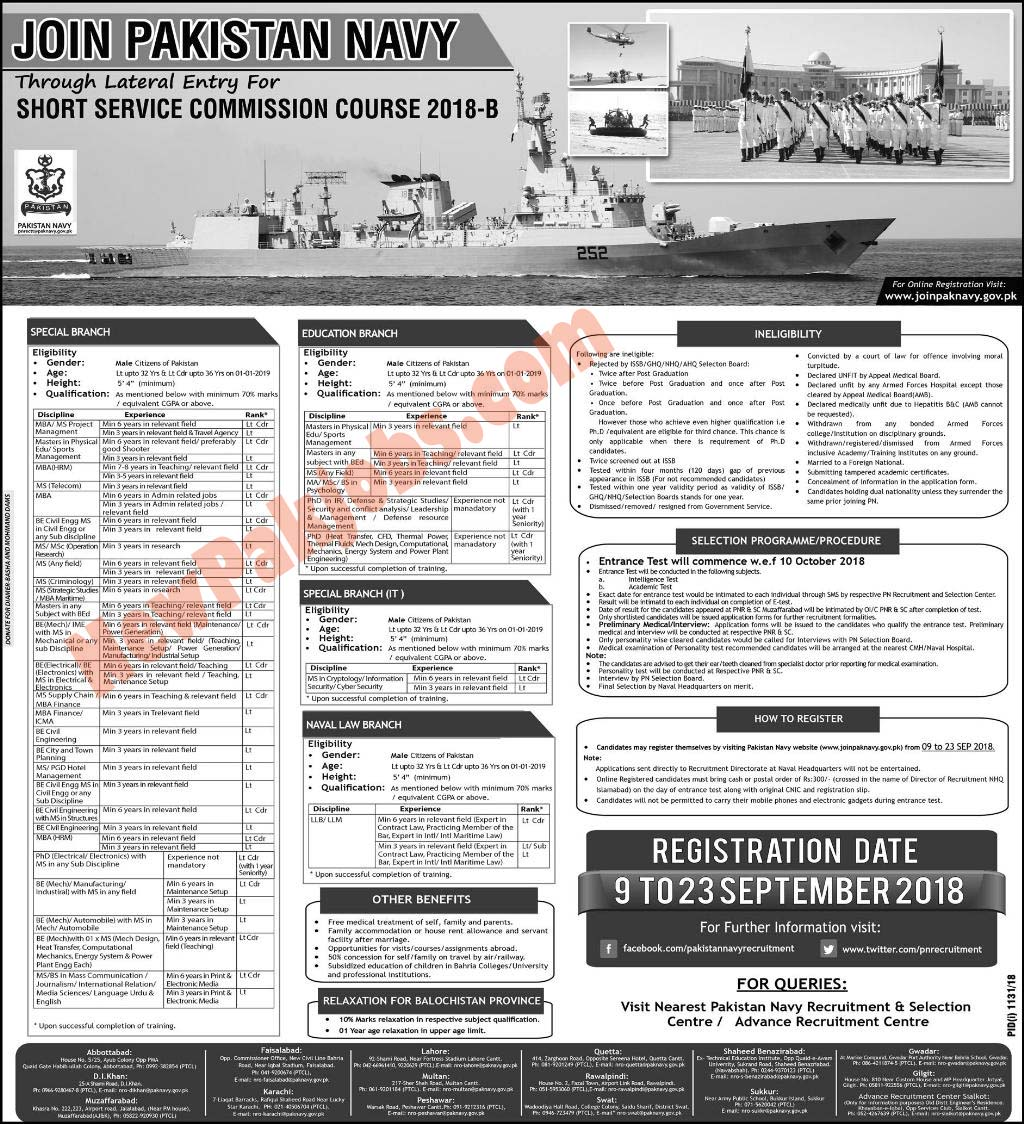 Join Pak Navy (September 2018) Through Short Service Commission Course 2018-B