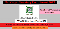 Panchayat Secretary Recruitment 2017 Notification For 3088 Govt Clerk Jobs in India