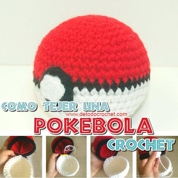 como se teje una pokebola crochet