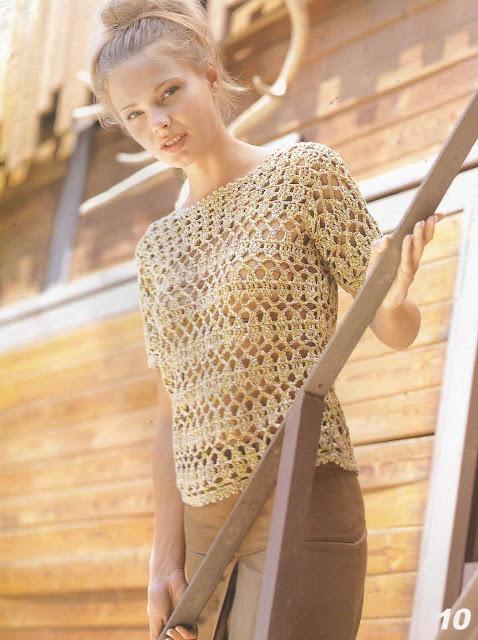 Patrón #837: Blusa Dorada Calada a Crochet