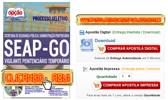 Apostila Concurso SEAP GO 2016 Vigilante Penitenciário PDF Impressa