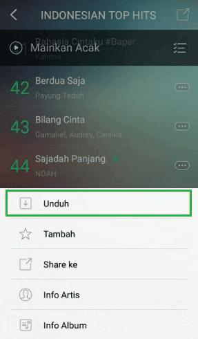 Unduh lagu dari aplikasi JOOX