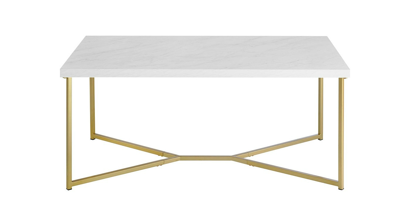 Marble top gold base coffee table