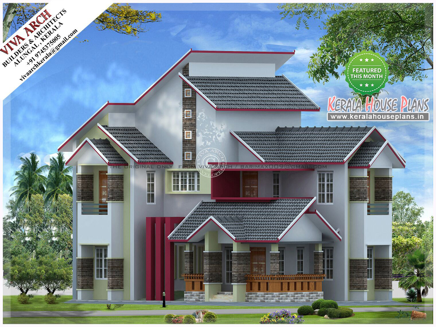 Kerala traditional modern slope roof house kerala house for Model house design 2016