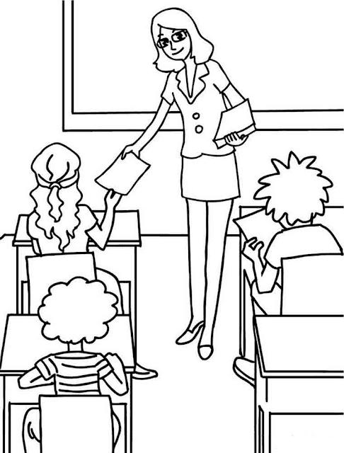 Gambar Mewarnai Kegiatan Belajar - 5