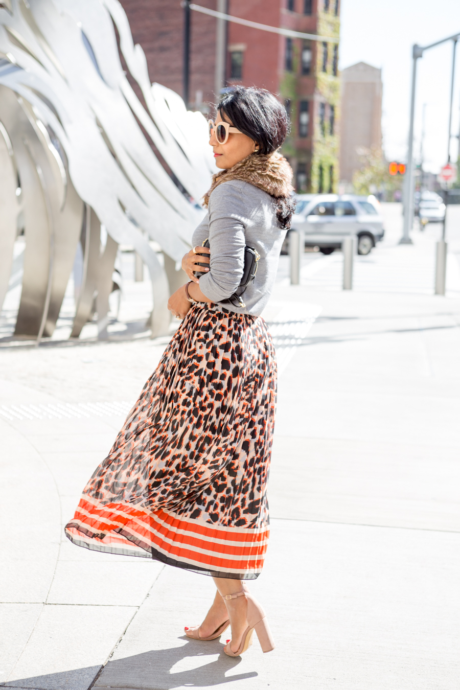 fall fashion, wardrobe essential, fall classics, banana republic, petite fashion, pleated midi skirt, faux fur, block heel, fall lookbook, petite style, office style, work style, corporate chic, colorful, neutrals, new york fashion week, fall fashion trends
