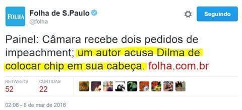 Autor de pedido de impeachment acusa Dilma de ter colocado um chip em sua cabeça