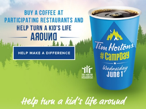 Tim Hortons Camp Day Buy Coffee, Help Turn A Kid's' Life Around