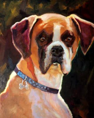 Oil Painting Dog Portrait, Boxer
