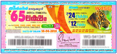 Kerala Lottery Result 16.04.2018 Win Win Lottery Results W-456 keralalotteriesresults.in