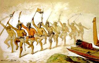 Guerreros maoríes, dispuestos para la batalla