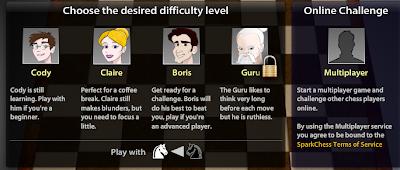Sparkchess: Elige la contra quien quieres jugar.
