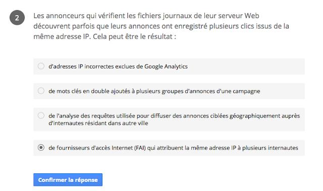 Annonceurs vérifient les fichiers journaux plusieurs clics issus de la même adresse IP Certification google adwords réseau recherche