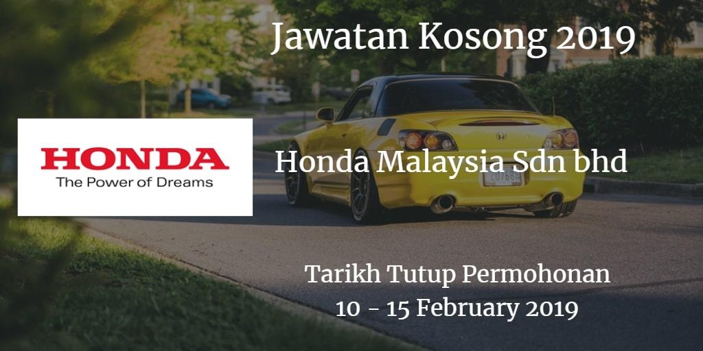 Jawatan Kosong Honda Malaysia Sdn bhd 10 - 15 February 2019