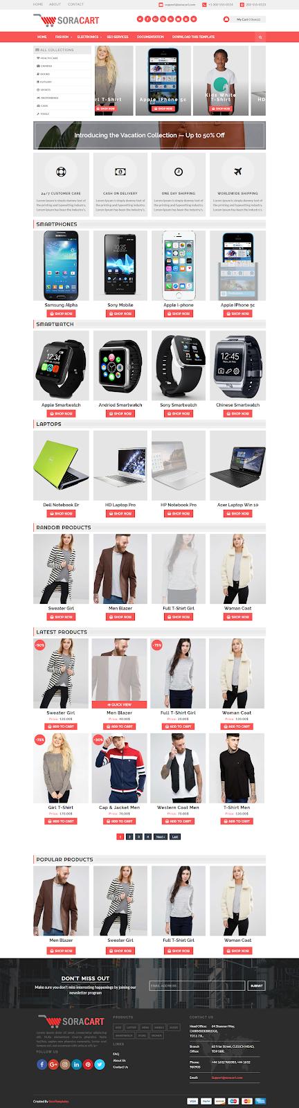 SoraCart Shopping Blogger Template