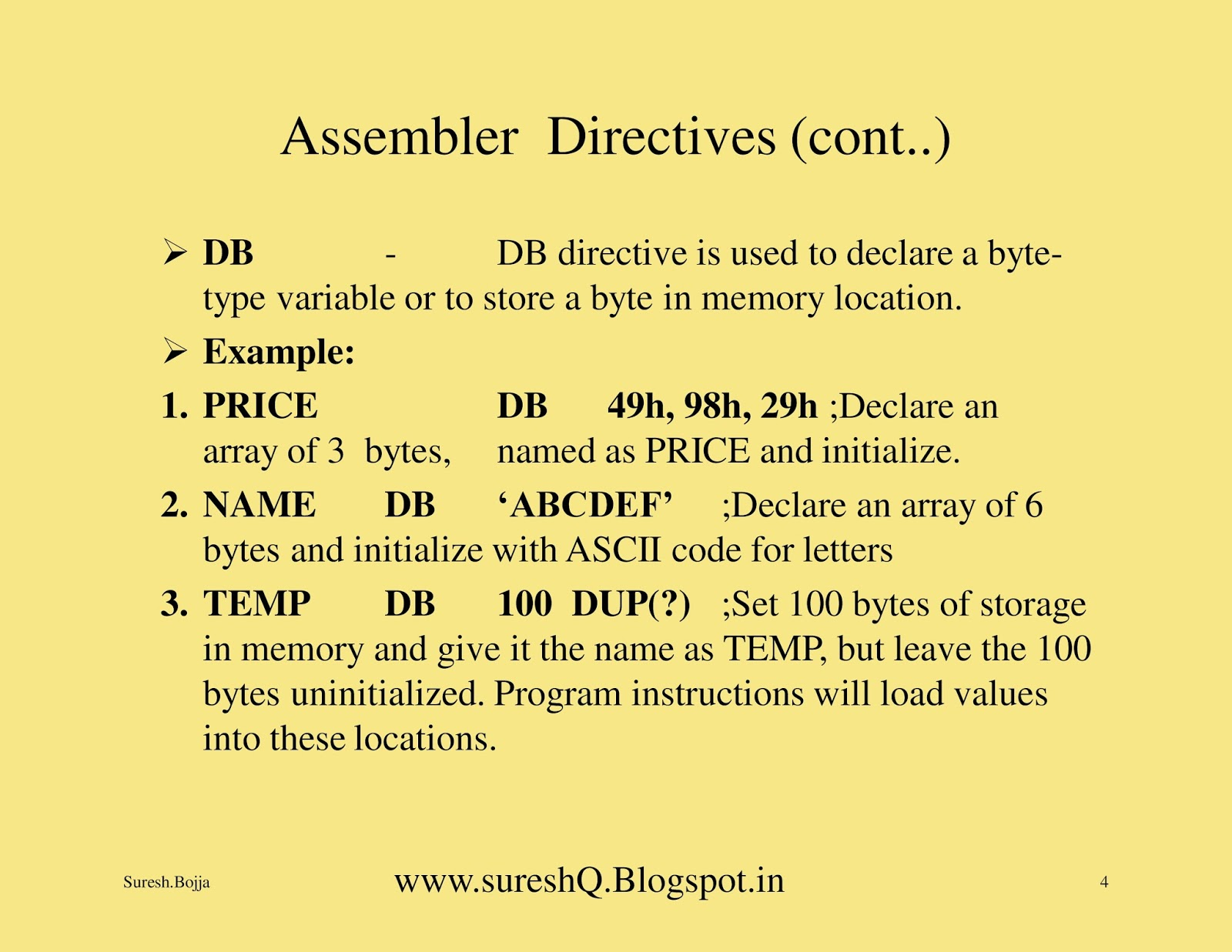 Examples List on Assembler Directives Of 8086 Microprocessor