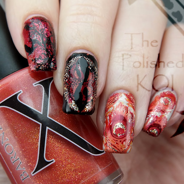 Fire bird nail art