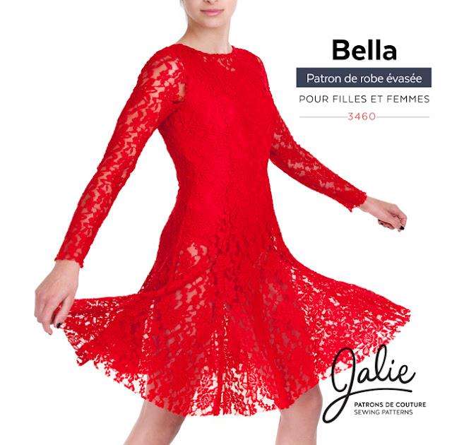 Jalie 3460 - Robe ajustée et évasée Bella avec léotard (justaucorps) intégré.  Dentelle extensible sur léotard en tricot de polyester - Plusieurs  dentelles ... c706eb115d8