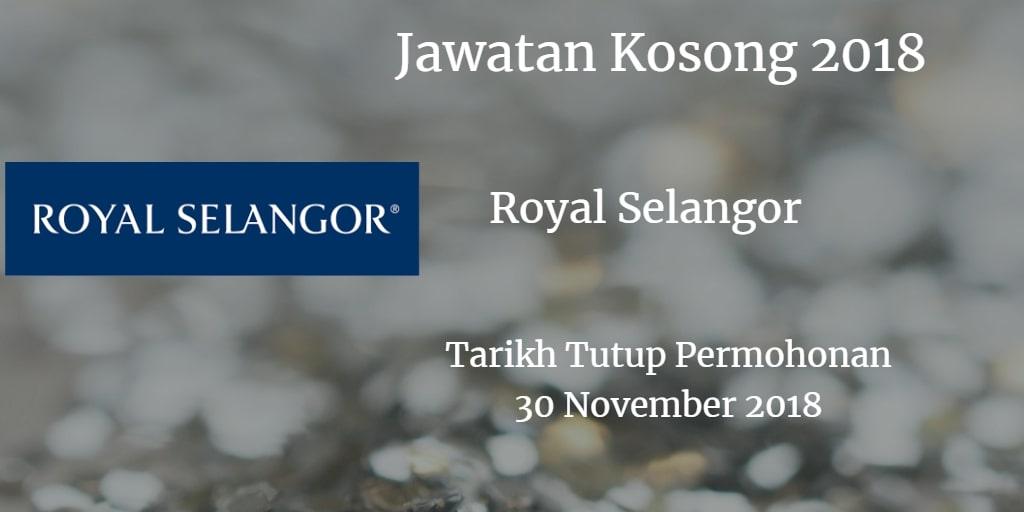 Jawatan Kosong Royal Selangor 30 November 2018