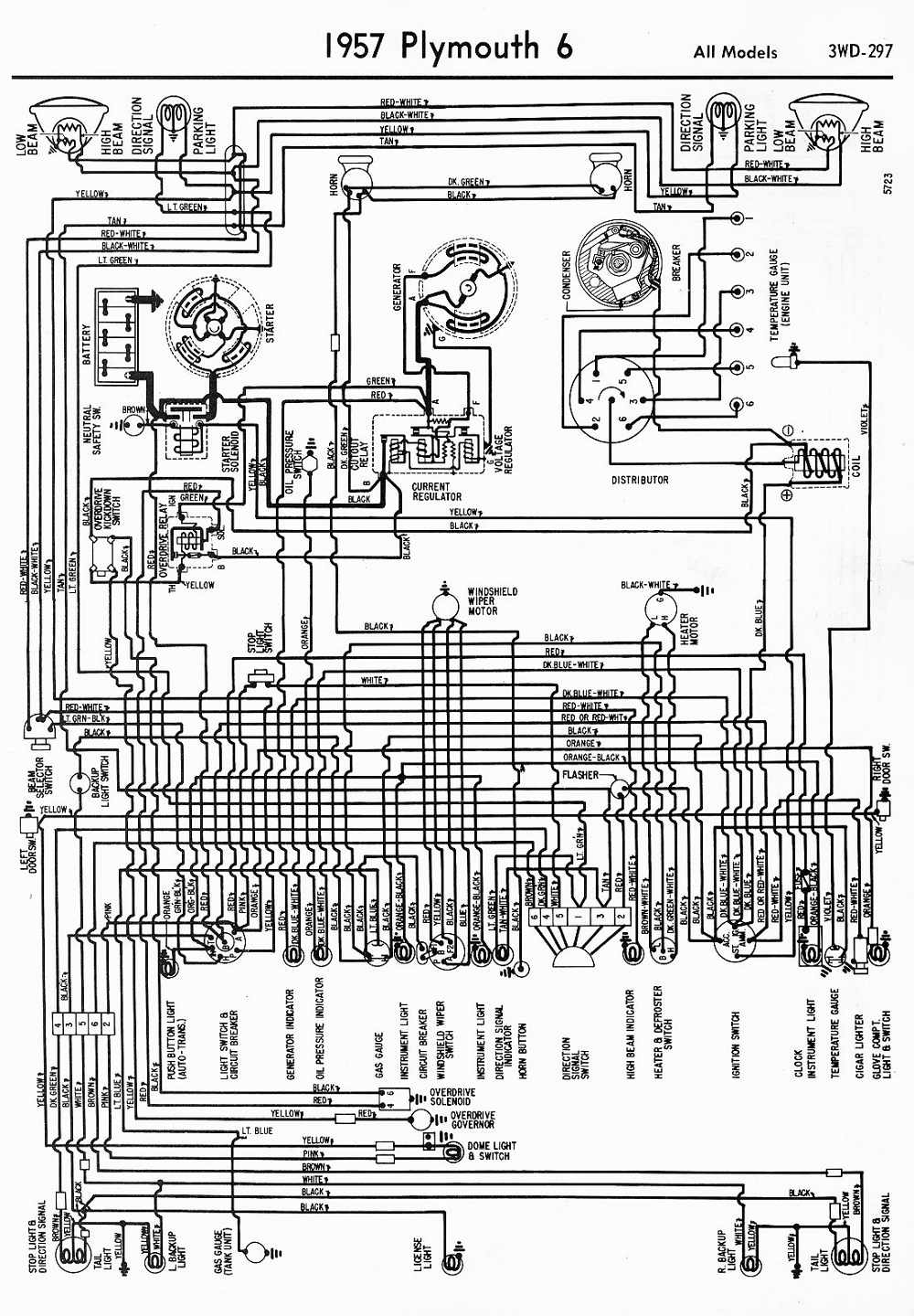 Proa  1957 Plymouth 6 All Models Wiring Diagram