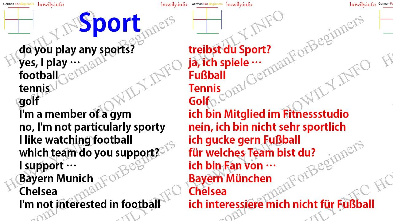 Sport Deutsch