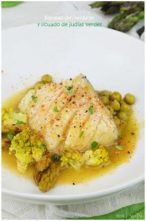 Bacalao y verduras al vapor con licuado de judias verdes