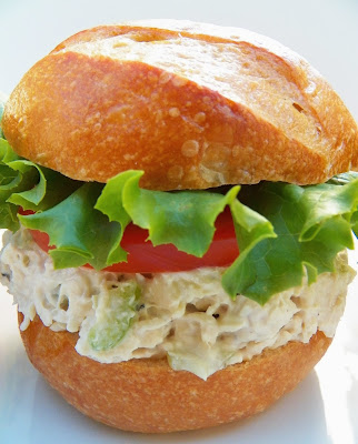 Chicken Salad Sandwich with Garlic and Herbs Cheese, Closeup View