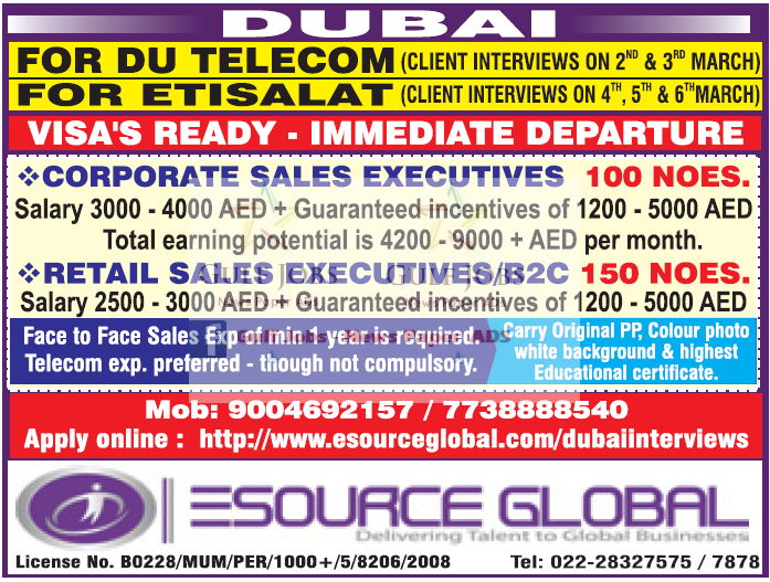 Dubai Du Telecom & Etisalat Job Vacancies - Gulf Jobs for Malayalees