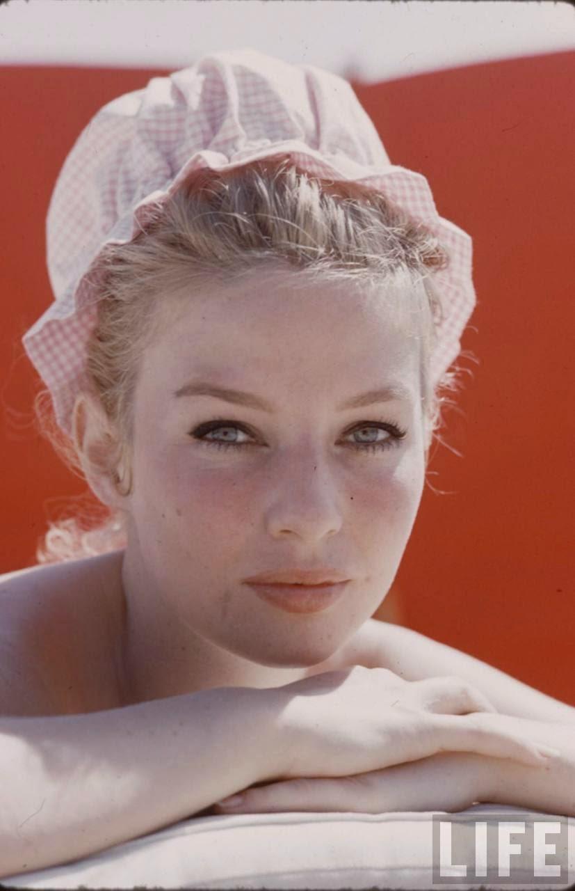 Annette Vadim Sunbathing On Beach At St Tropez 1959