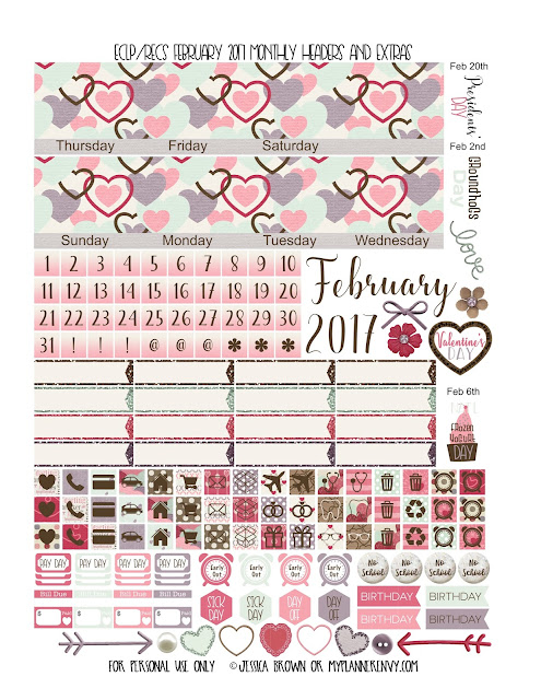 Free Printable February 2017 Monthly Headers and Extras for the Vertical Erin Condren and Recollections Creative Year Planners from myplannerenvy.com