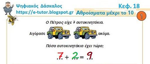 Κεφ. 18 - Αθροίσματα μέχρι το 10 - Ενότητα 3 - https://e-tutor.blogspot.gr
