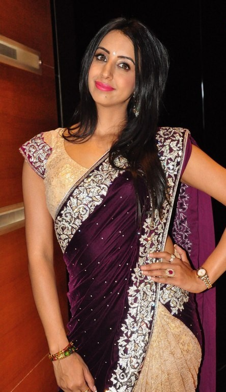Kollywood Actress Hip Navel Show In Maroon Saree Sanjana