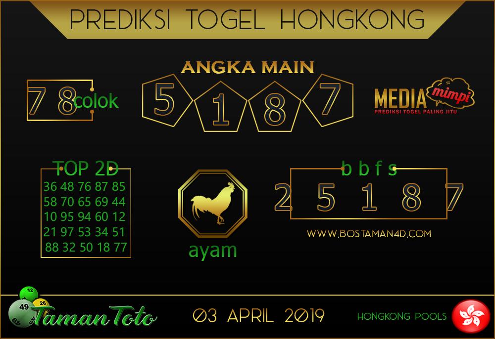 Prediksi Togel HONGKONG TAMAN TOTO 03 APRIL 2019