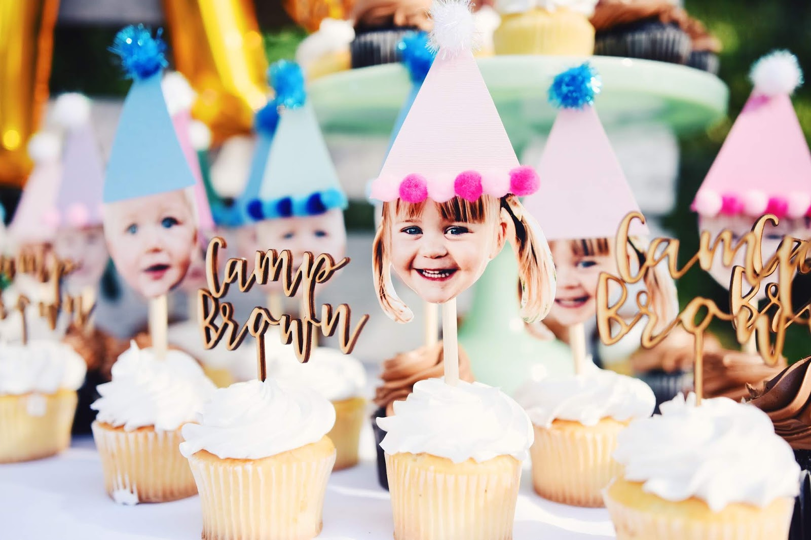 Hello Baby Brown Party Hat Cupcake Topper Tutorial