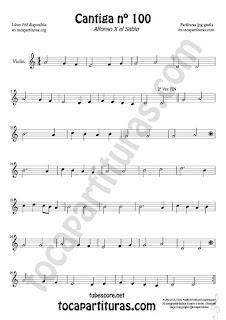 Violín Partitura de Cantiga de Amigo Nº 100 de Alfonso X el Sabio Sheet Music for Violin Music Scores