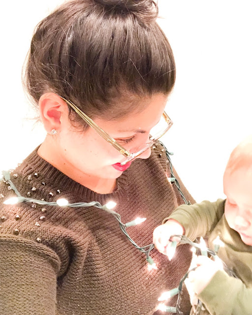 Mom and baby, mommy, baby, Christmas lights, Christmastime, tis the season, unplug, New York christmas