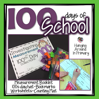 100th day of school pack with measurement investigation booklet, hat, bookmarks and other printables