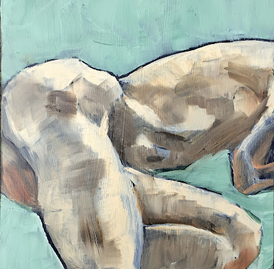 male figure study, oil painting by philine van der vegte