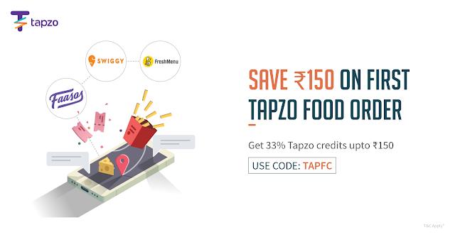 Tapzo Get 33% Tapzo credits upto Rs150