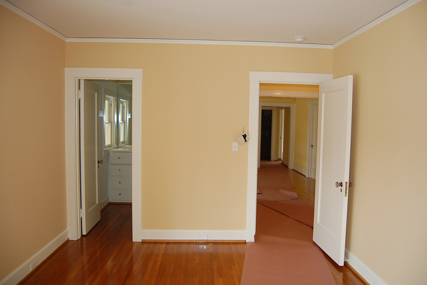 Yellow walls and white ceiling