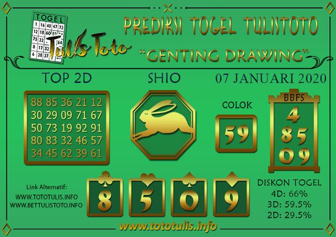 Prediksi Togel GENTING DRAWING TULISTOTO 07 JANUARI 2020