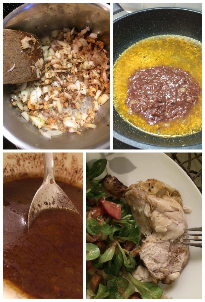 Dindon (poulet) aux amandes, sésame, piments et chocolat #challengeLireManger