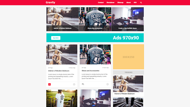 Gravity Responsive Blogger Template
