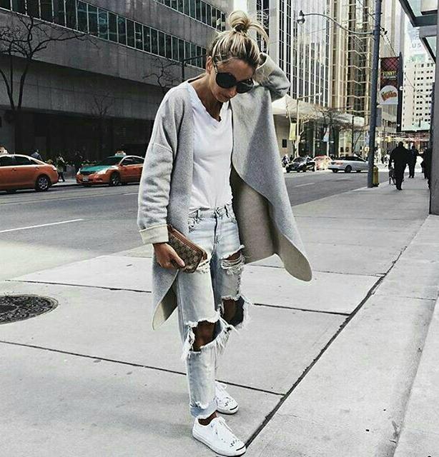 Looks de inverno com tênis branco