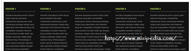 cara buat 5 kolom layout di footer blogger